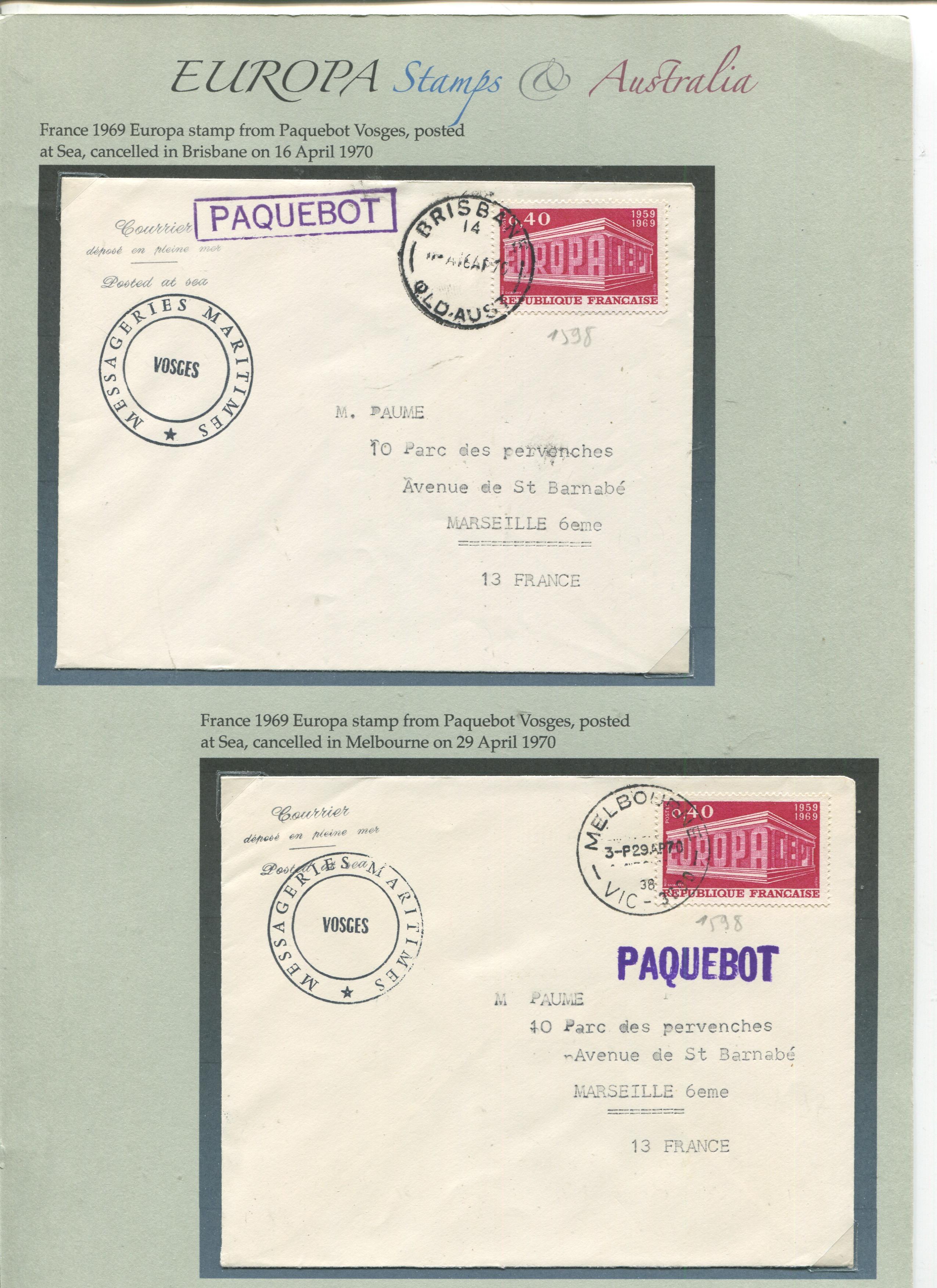 Europa Stamps postmark outside Europe…