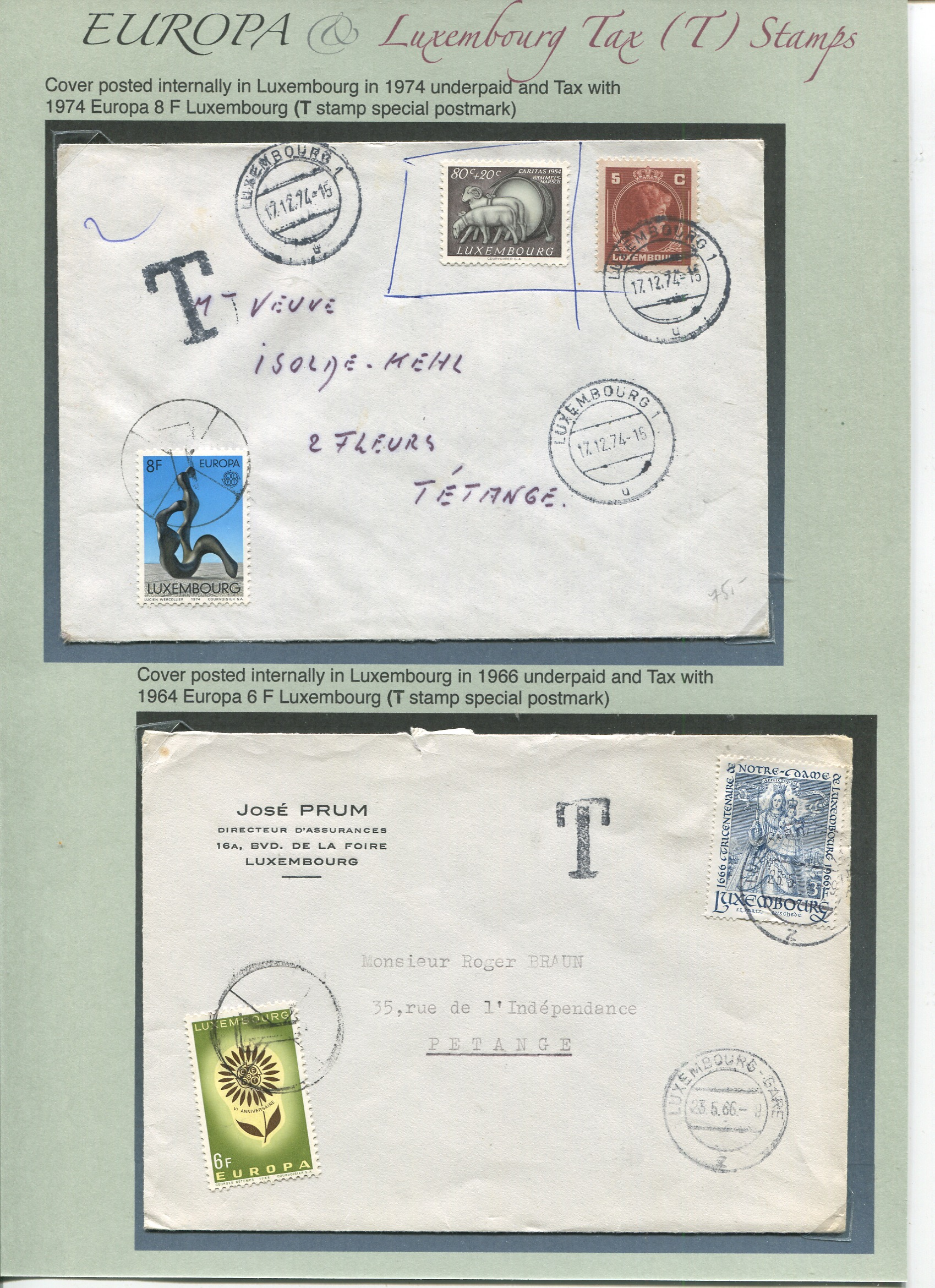Europa stamps used as TAX stamps by Luxembourg