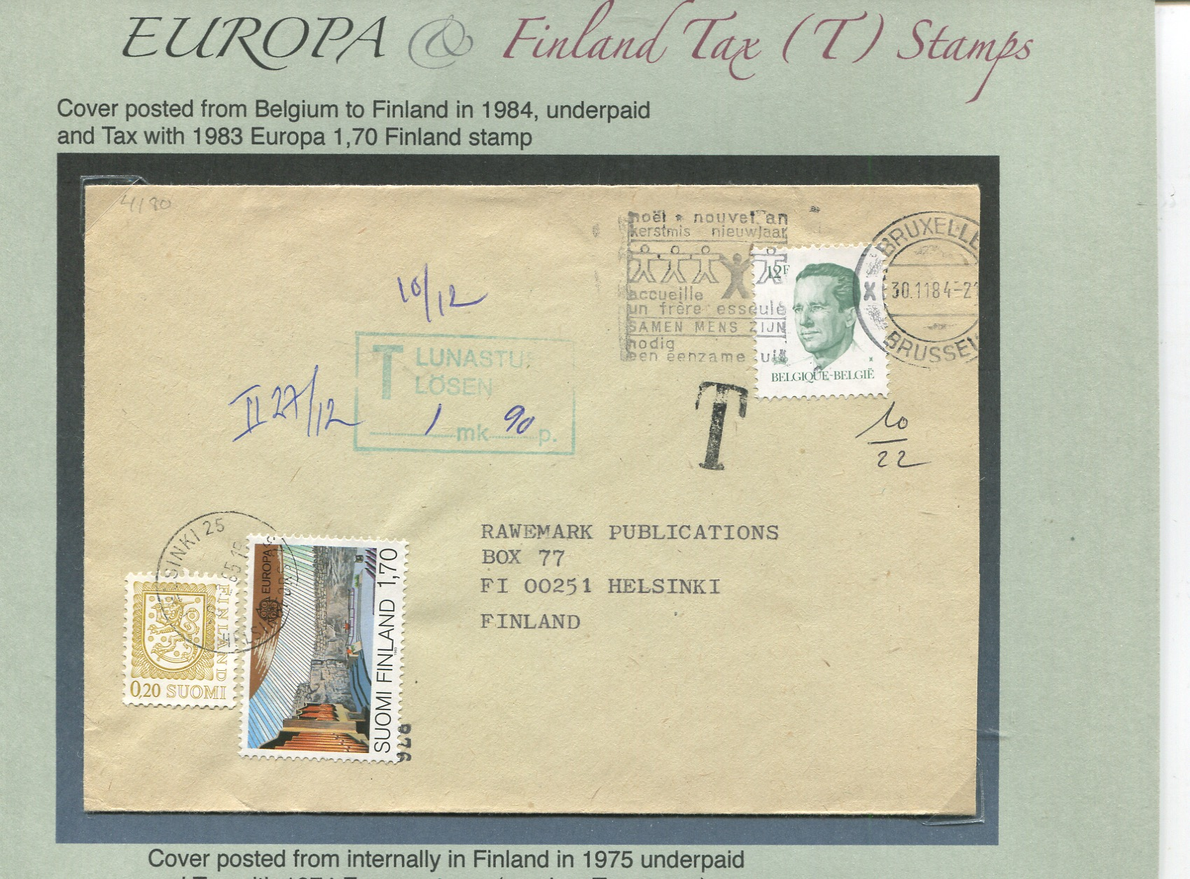 EUROPA stamp used as TAX stamp by Finland
