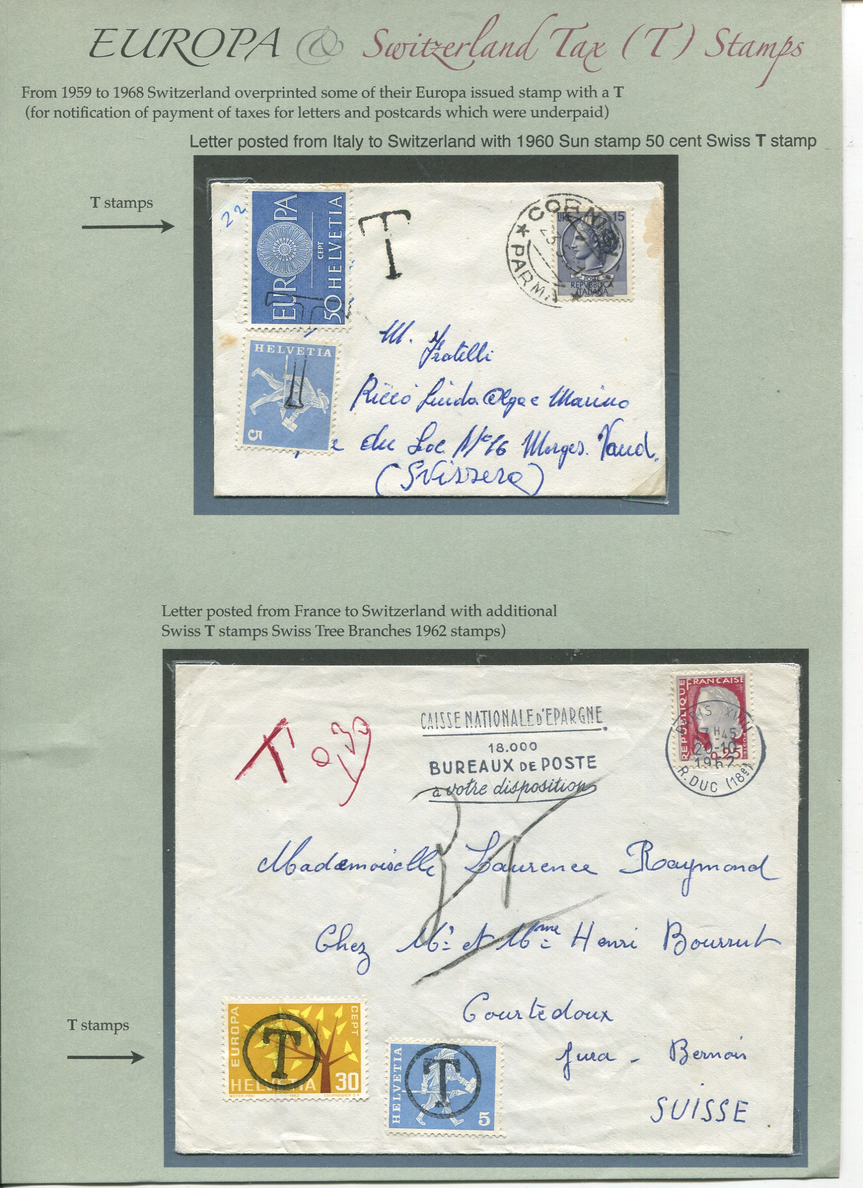 Swiss EUROPA stamp used as Tax stamps