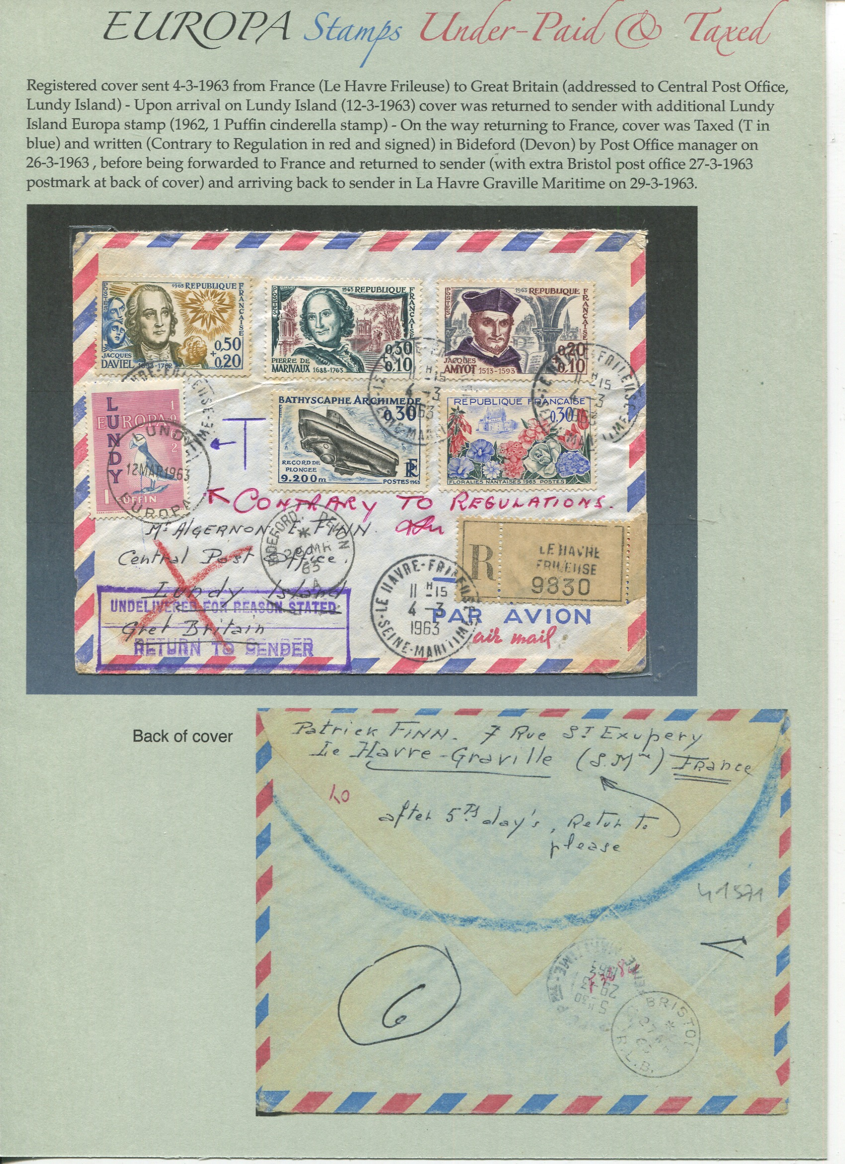 Letter from France to UK (Lundy Island), Return to Sender and Taxed by UK Post Office