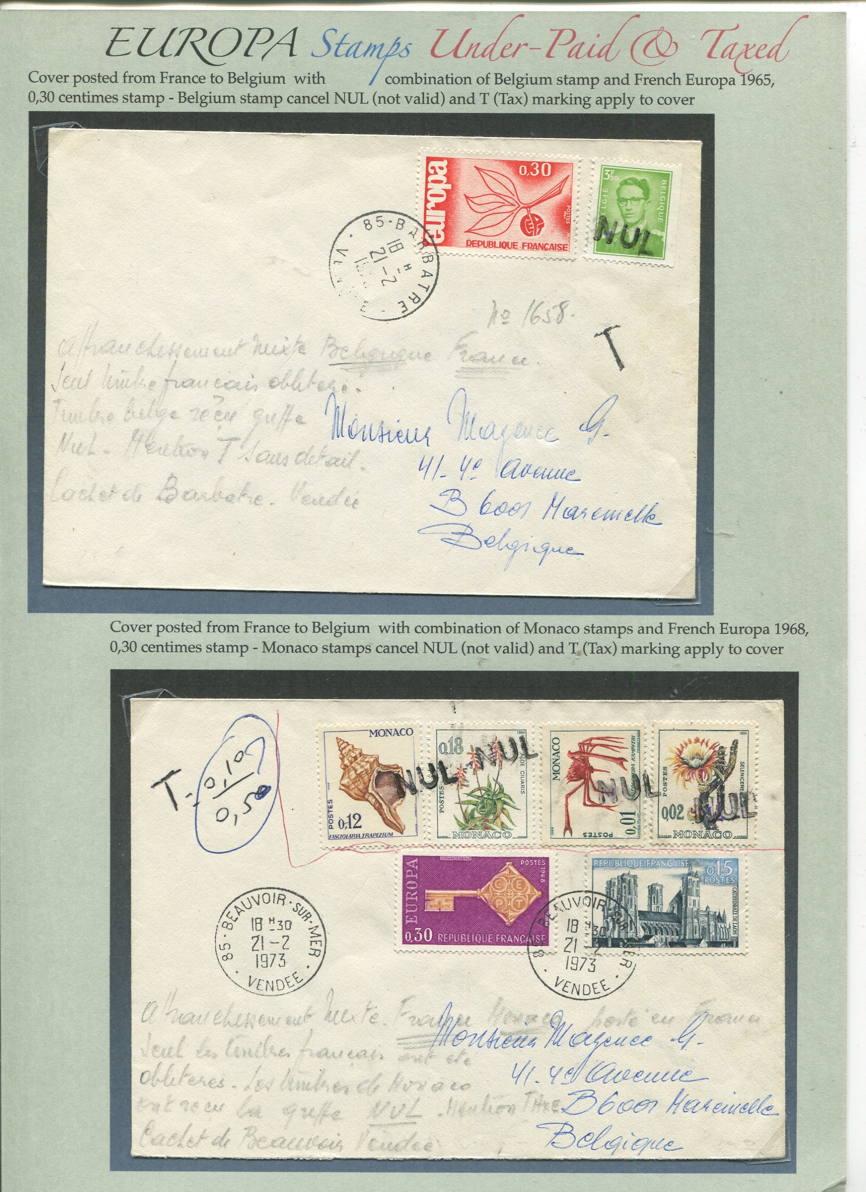 France illegal usage of stamps resulting in letter being taxed…
