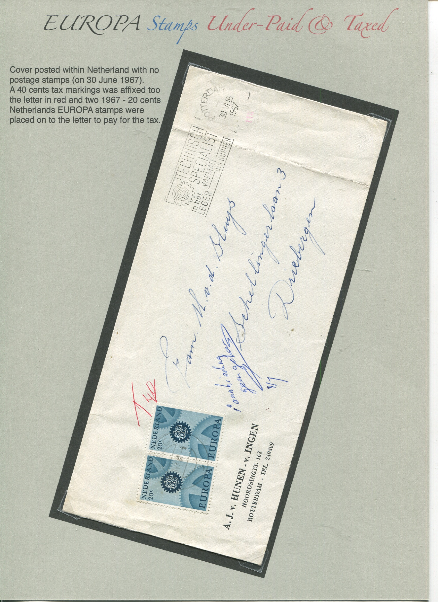 Netherlands EUROPA stamps used as Tax stamp